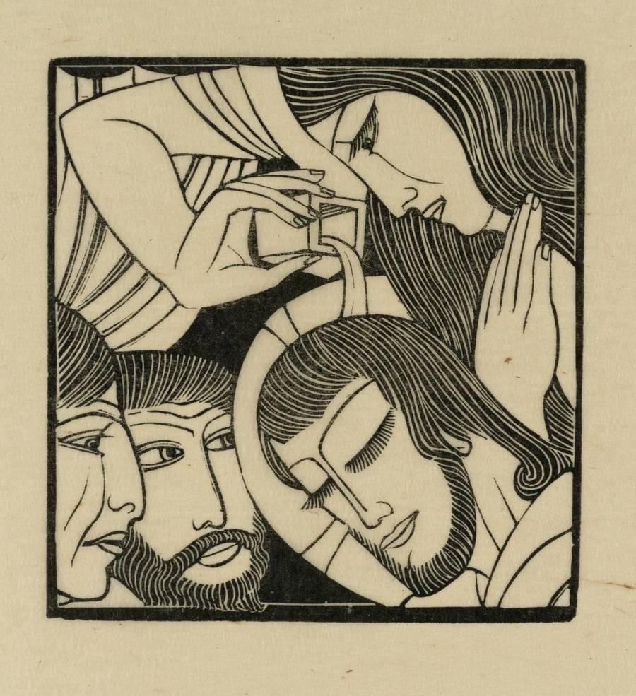 A gravura Maria Madalena (1926), de Eric Gill, retrata o momento em que a mulher unge Jesus em Betânia (Foto: Reprodução)