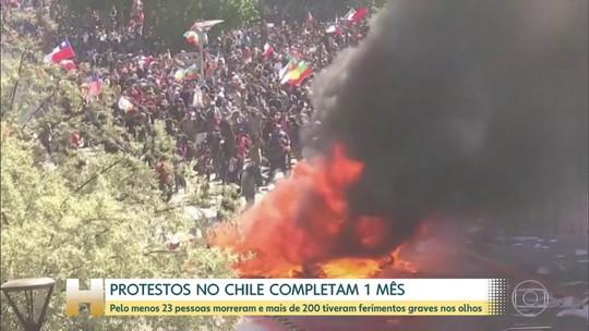Protestos no Chile completam um mês