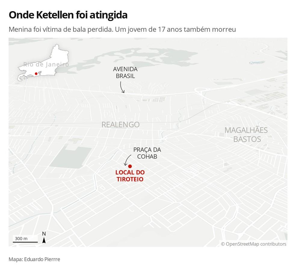 Mapa mostra onde Ketellen foi atingida — Foto: Infografia: Eduardo Pierre/G1