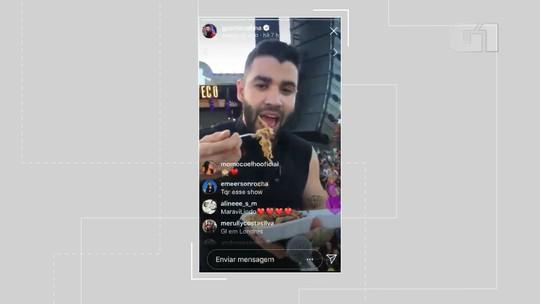 Gusttavo Lima posta vídeo comendo yakisoba em cima do palco durante show em Salvador