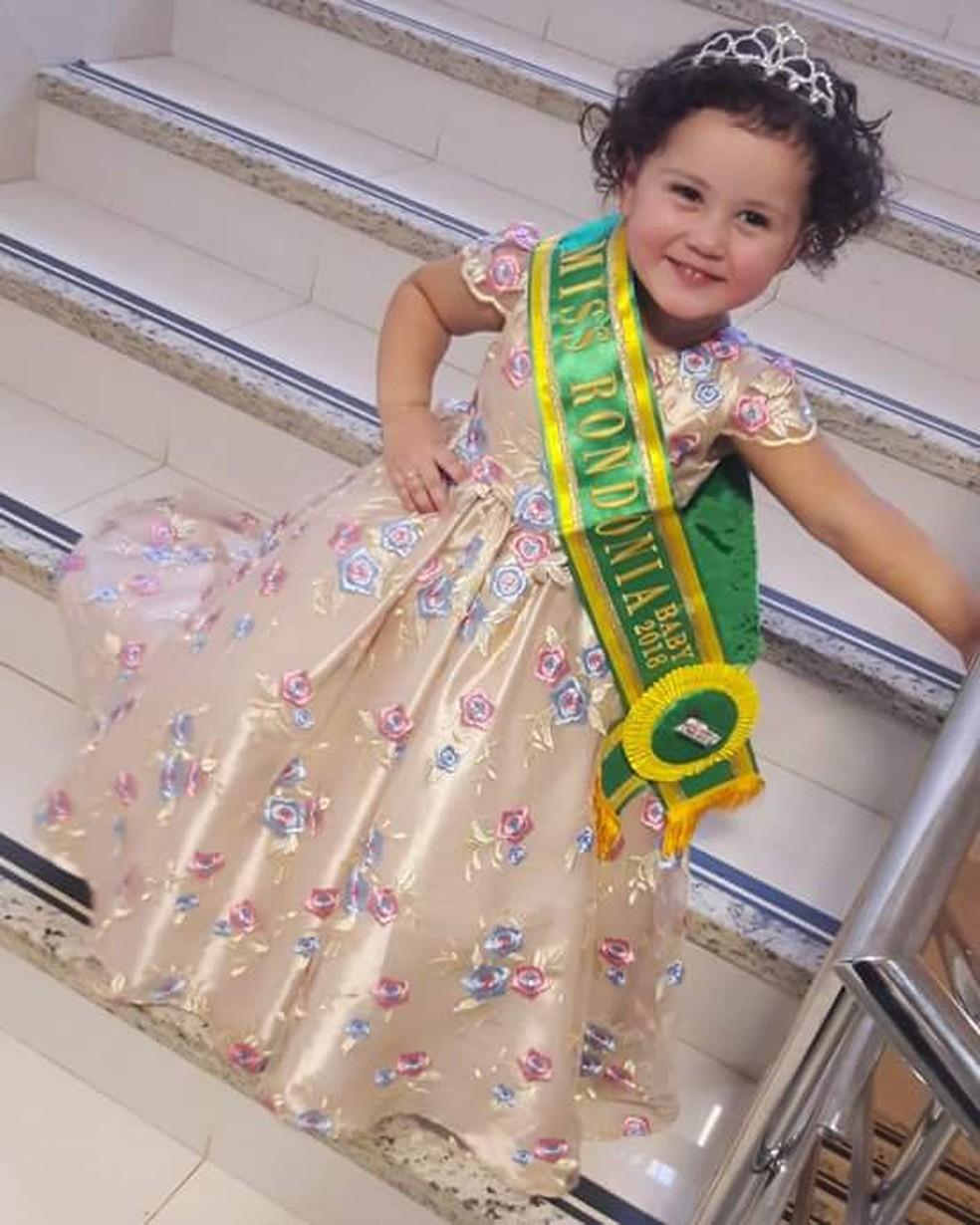 Alice Ferreira ganhou o concurso Miss Rondônia Baby em 2018 — Foto: Arquivo Pessoal