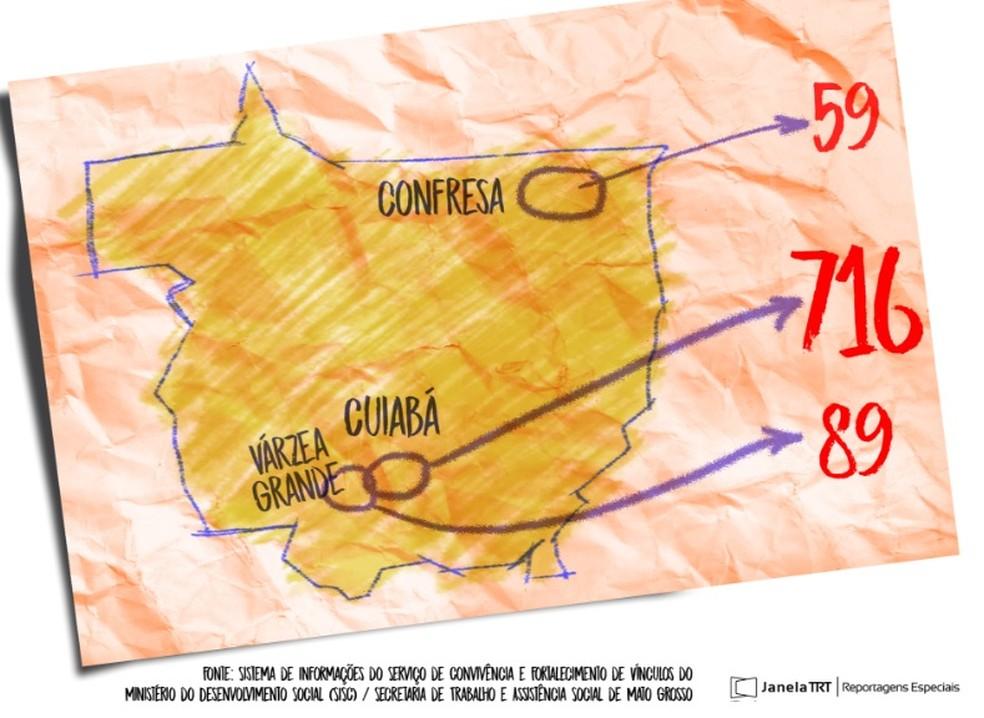 Mapa mostra maior número de ocorrências em MT (Foto: TRT-MT/Reprodução)