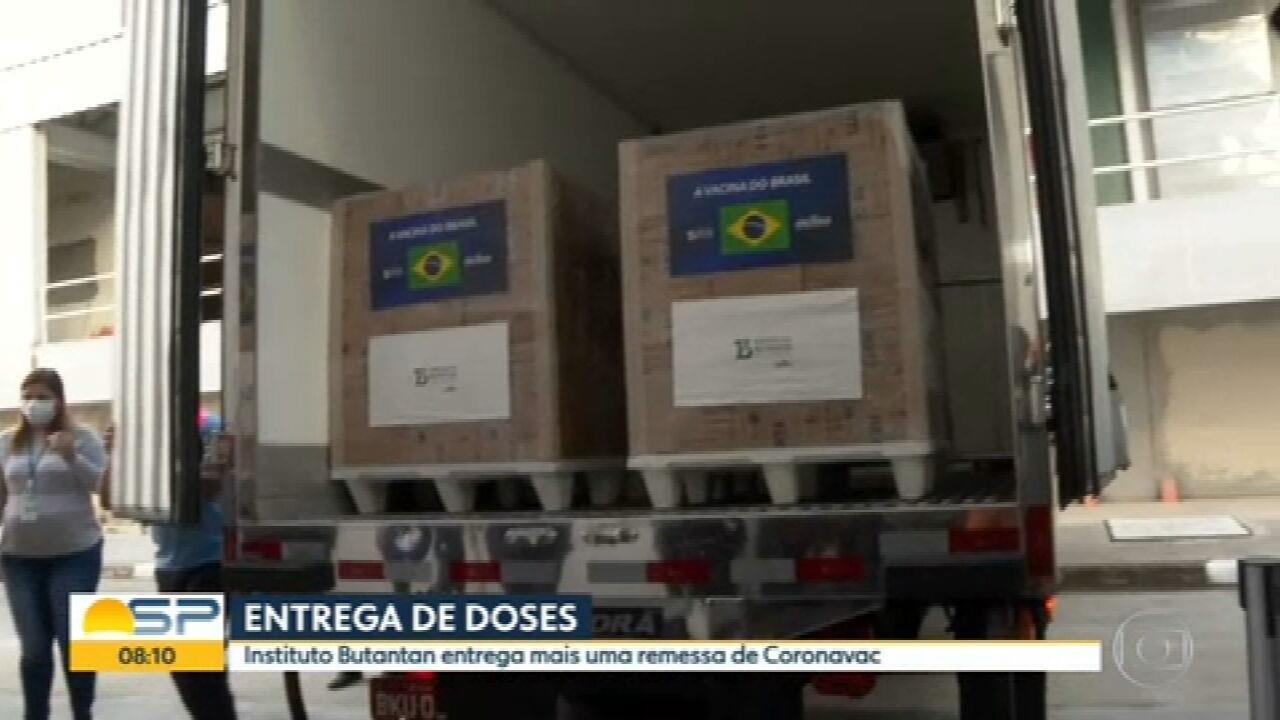 Butantan entrega mais 1 milhão de doses da CoronaVac ao Ministério da Saúde nesta quarta