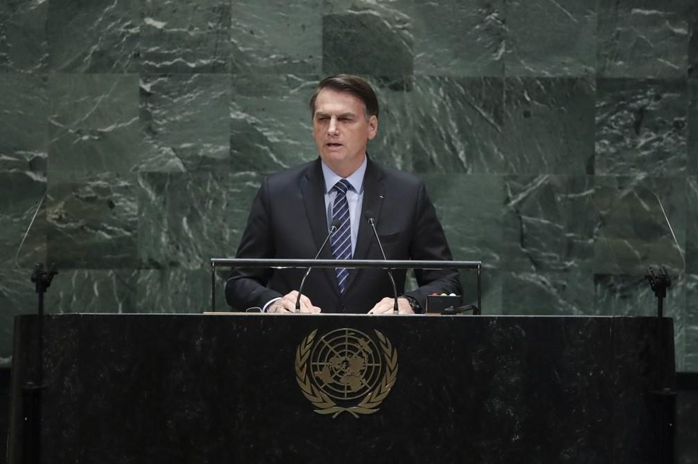 Jair Bolsonaro discursa na abertura da Assembleia Geral da ONU em Nova York nesta terça (24). — Foto: Drew Angerer / GETTY IMAGES NORTH AMERICA / AFP
