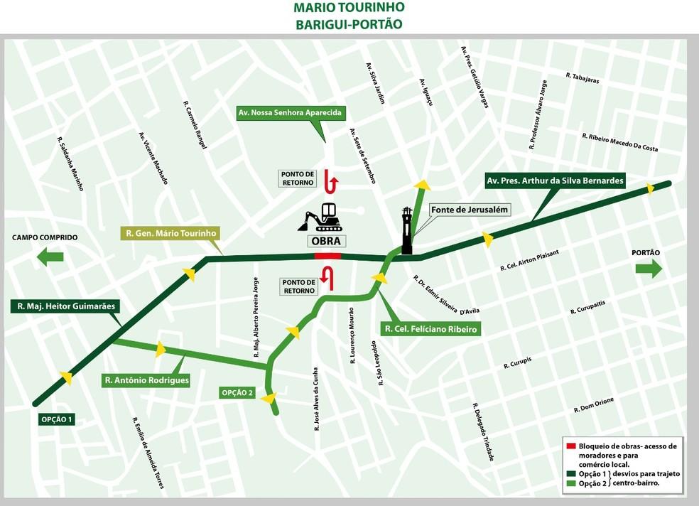 Obras para o viaduto da Mario Tourinho devem durar 10 meses — Foto: Prefeitura de Curitiba