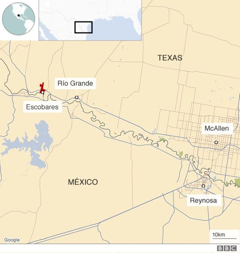 Mapa de Escobares, no Texas — Foto: BBC
