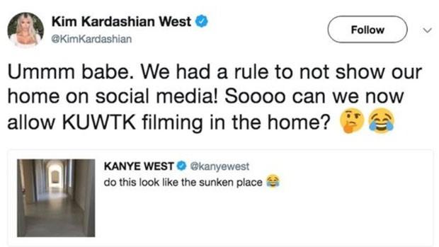 Kim Kardashian dá bronca em Kanye West (Foto: Reprodução)