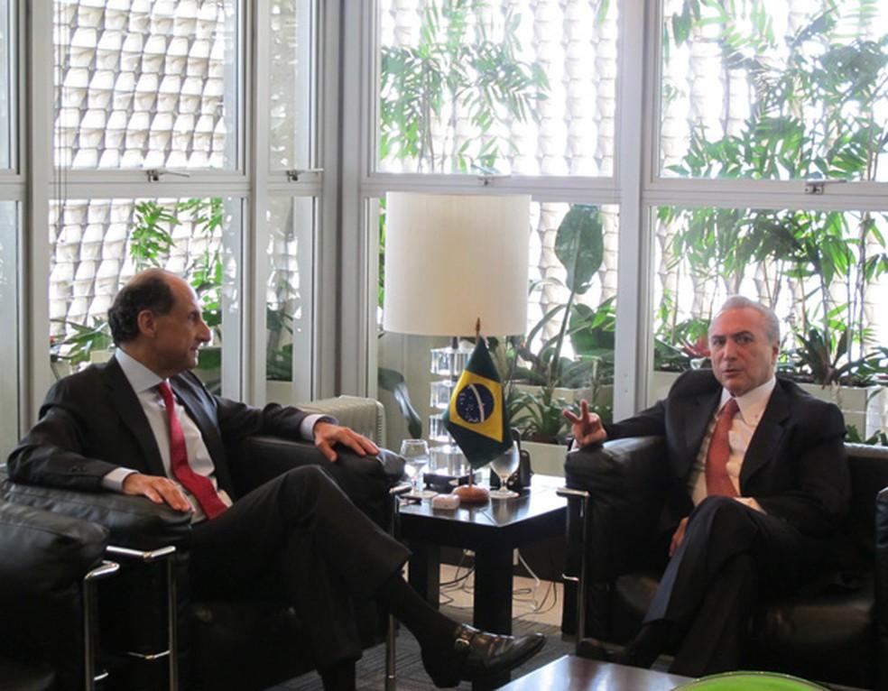 Paulo Skaf e Michel Temer em encontro em 2016 (Foto: Mariana Oliveira / G1)