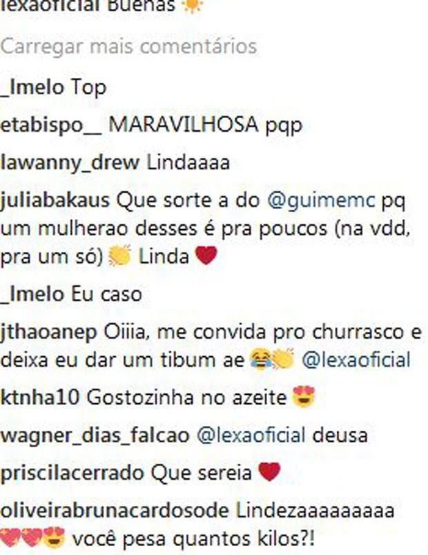 Guimê é parabenizado por ter Lexa como mulher (Foto: Reprodução/Instagram)