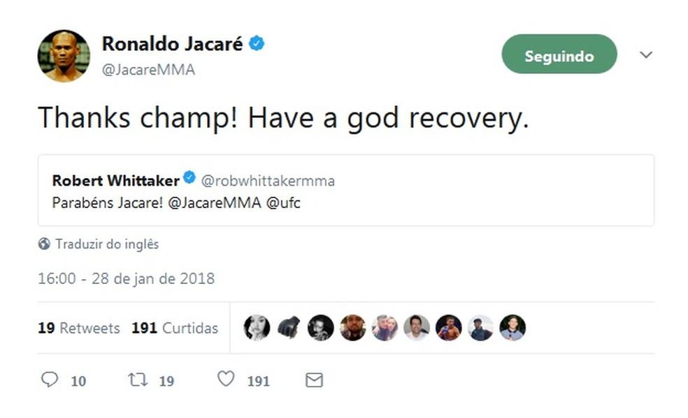 Ronaldo Jacaré e Whittaker trocaram mensagens e gentilezas no Twitter (Foto: Reprodução / Twitter)