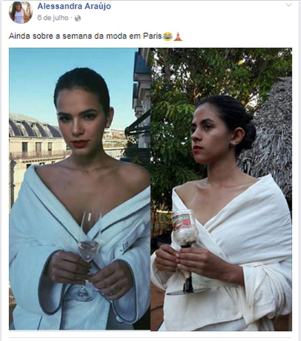 Alessandra busca inspiração em famosas da TV (Foto: Facebook/Reprodução)