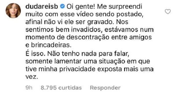 Duda Reis comenta notícia de affair (Foto: Reprodução/Instagram)