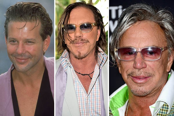 Mickey Rourke em 1989, 2008 e 2014 (Foto: Getty Images)