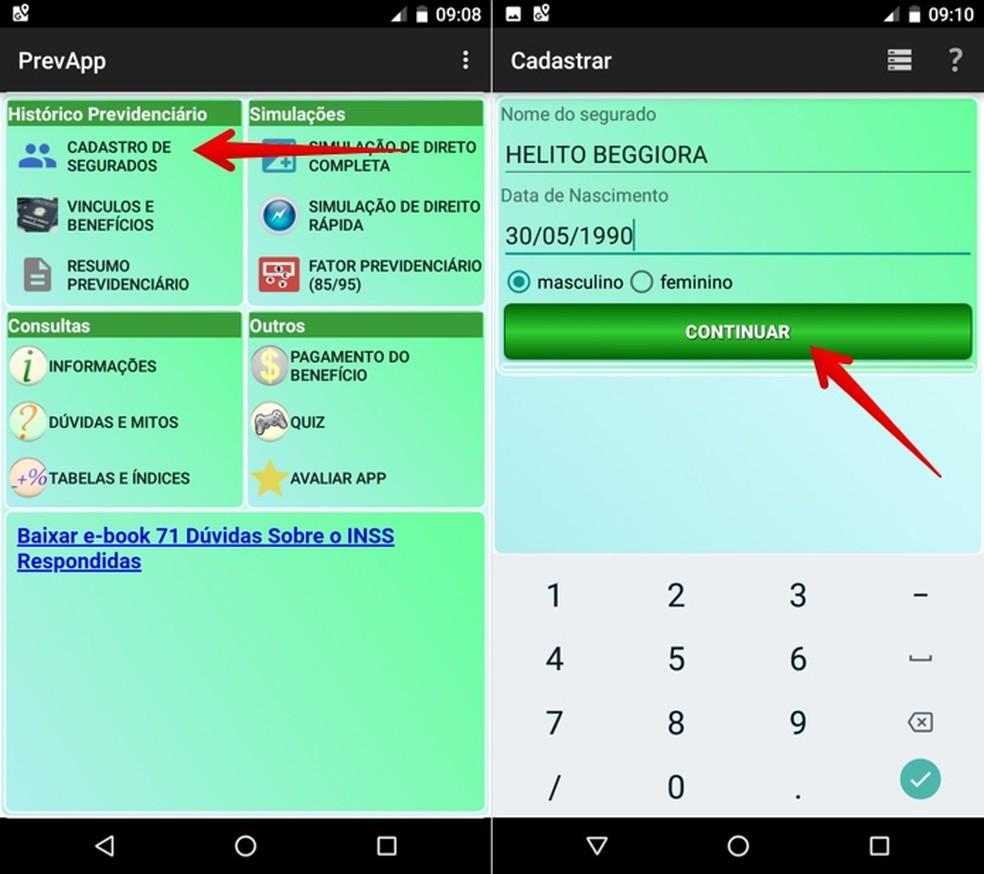 Faça cadastro de contribuinte no aplicativo PrevApp — Foto: Reprodução/Helito Beggiora