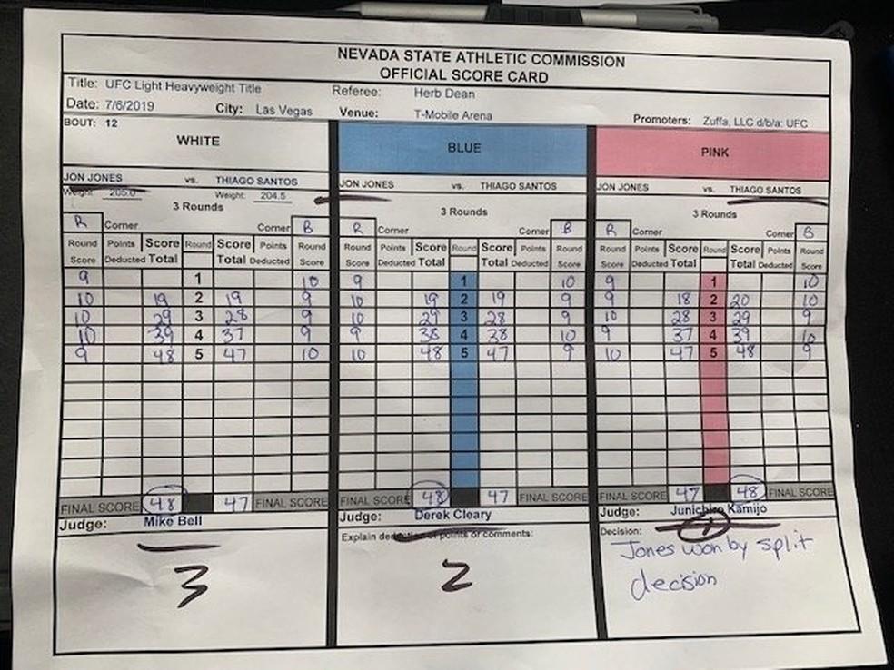 Papeleta da luta entre Jon Jones e Thiago Marreta — Foto: reprodução/Instagram