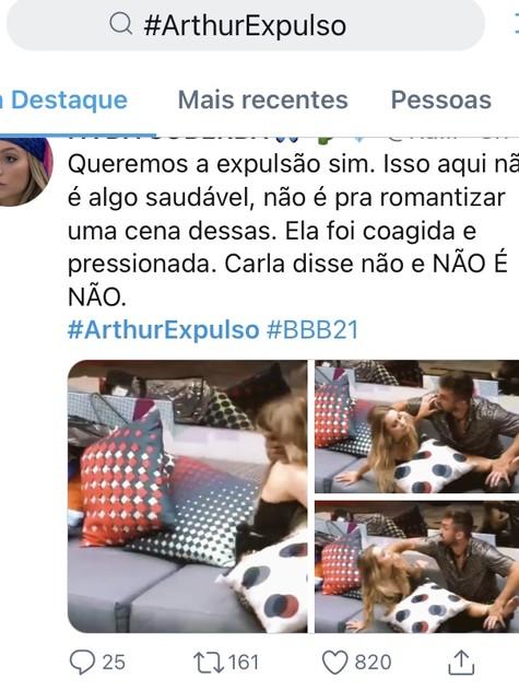'BBB': internautas pedem expulsão de Arthur (Foto: Reprodução)