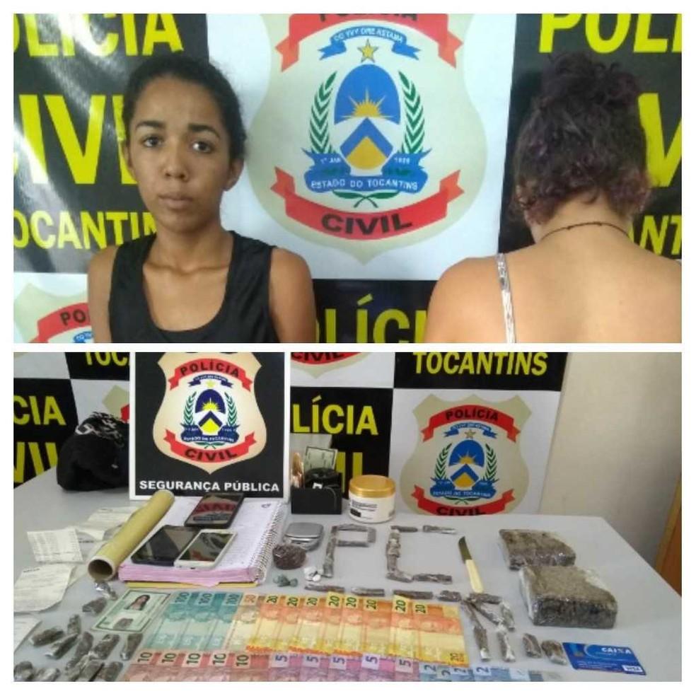 Jovem foi autuada em flagrante por suspeita de tráfico de drogas (Foto: SSP/Divulgação )