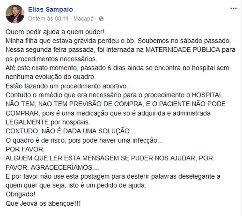 Elias Sampaio pediu ajuda pelo facebook (Foto: Facebook/Reprodução)