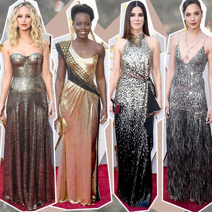 Jennifer Lawrence, Lupita Nyongo, Sandra Bullock e Gal Gadot apostaram na tendência do metalizado (Foto: Getty Images)