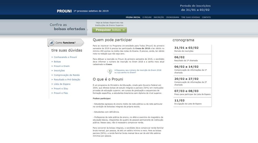 Página de acesso do Prouni 2019 — Foto: MEC/Divulgação