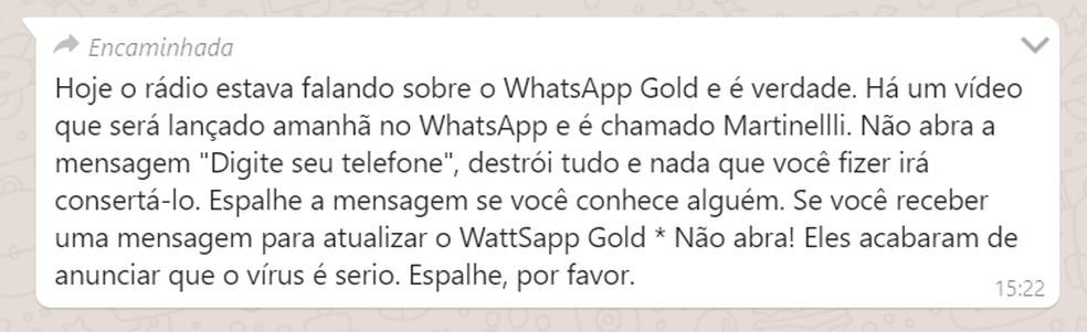 Boato de vídeo infeccioso circula pelo WhatsApp — Foto: Reprodução/Ana Letícia Loubak