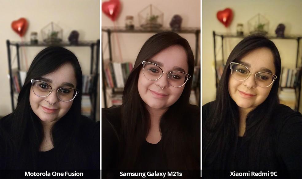 Comparativo das câmeras frontais do Motorola One Fusion, Samsung Galaxy M21s e Xiaomi Redmi 9C em baixa luz e modo retrato. — Foto: Arquivo pessoal