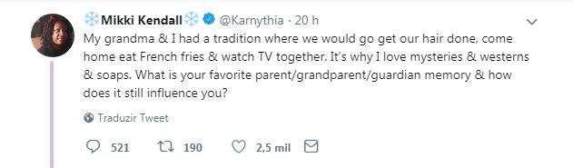 Mikki conta sobre suas memórias de infância ao lado da avó (Foto: Reprodução/Twitter)