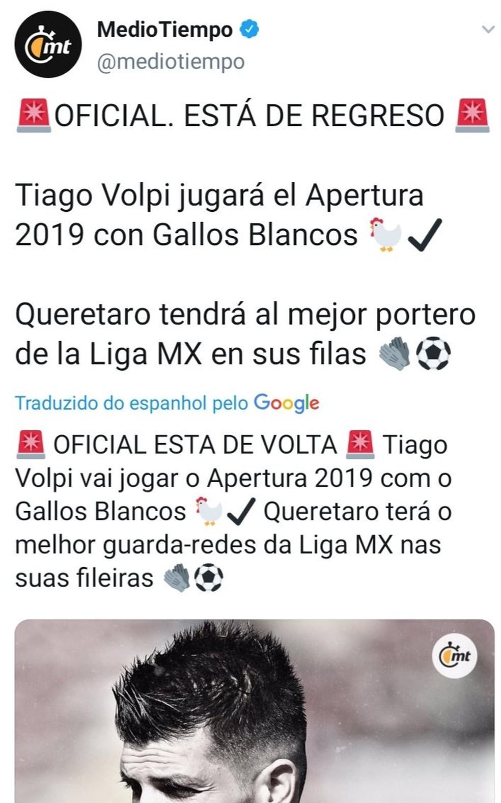 Site mexicano fala sobre possível retorno de Volpi ao Querétaro — Foto: Reprodução