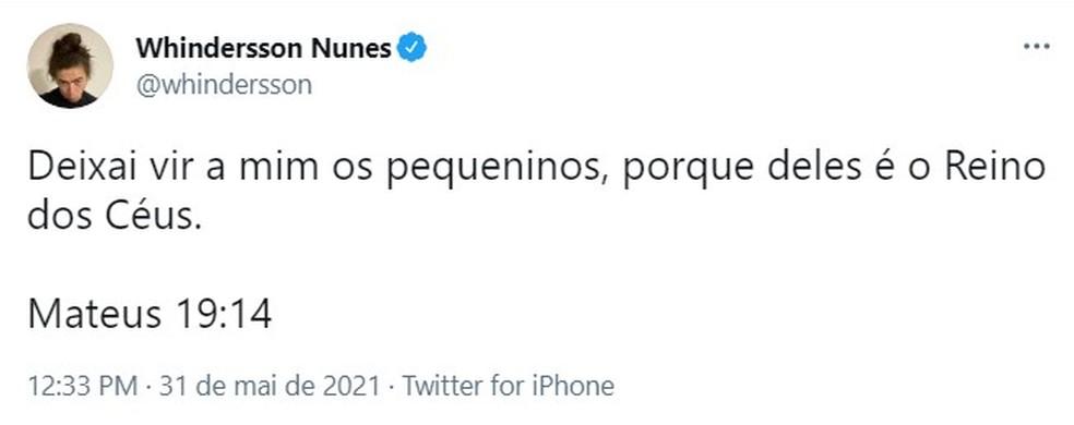 Puclicação de Whindersson Nunes no Twitter nesta segunda-feira (31) — Foto: Reprodução/Redes Sociais