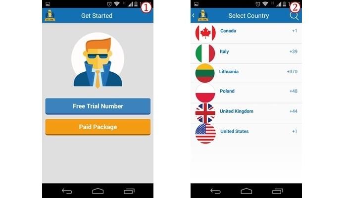 À esquerda, escolha entre versão paga ou gratuita; à direita, seleção de país (Foto: Reprodução/ Raquel Freire)