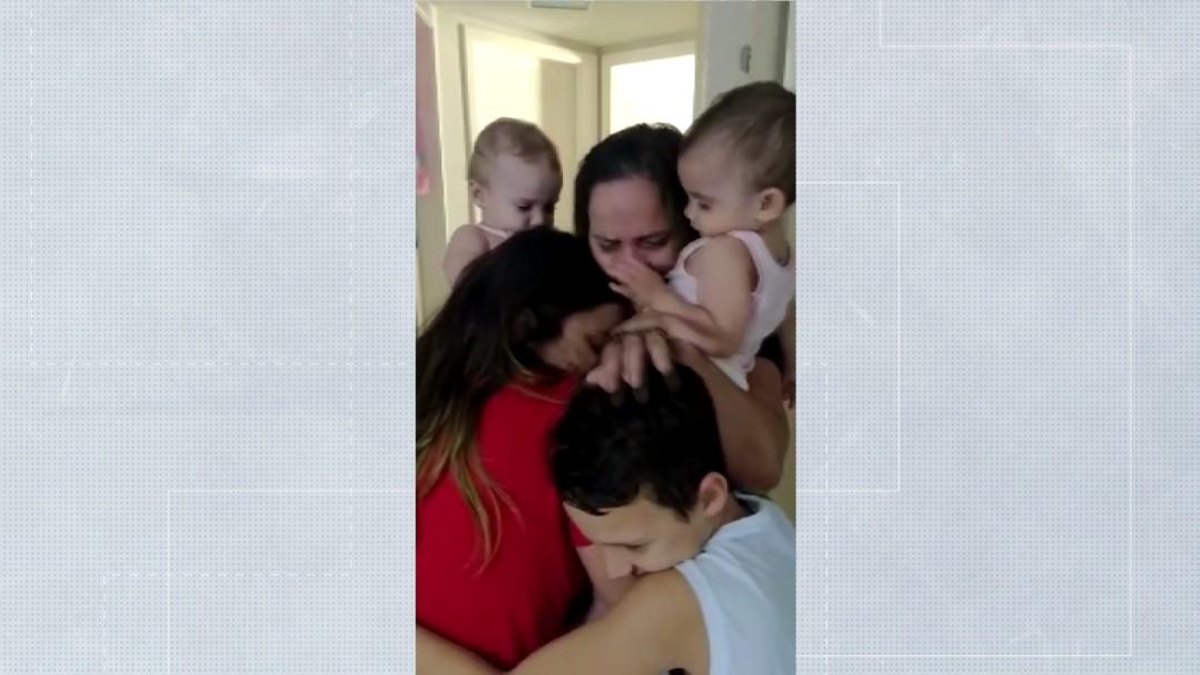 Após se recuperar do coronavírus, mulher é liberada da quarentena e revê família, em Londrina; VÍDEO