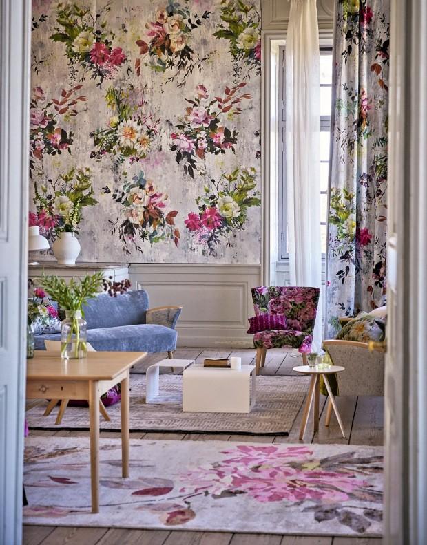 Papel de parede Aubriet-Fuchsia e cortina de linho Aubriet-Fuchsia (Foto: Divulgação)