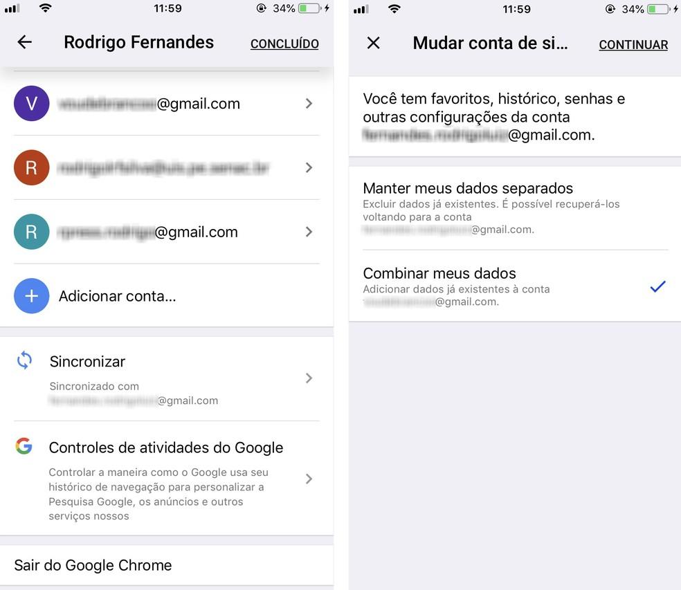 Chrome permite sincronizar dados de várias contas Google no celular — Foto: Reprodução/Rodrigo Fernandes
