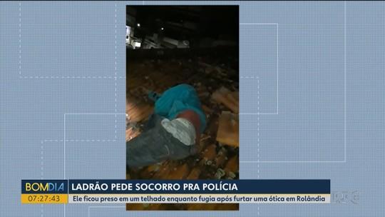 Suspeito de furto é resgatado por bombeiros após ficar preso em buraco de telhado durante fuga, em Rolândia