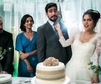 Marco Ricca, Ana Cecília Costa, Renato Góes e Julia Dalavia nos bastidores de 'Órfãos da terra' | Raquel Cunha/TV Globo