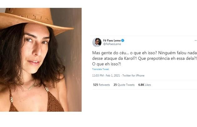Fernanda Paes Leme repercutiu o vídeo em que Karol Conká é rude com Lucas Penteado ao vivo no 'BBB' 21 (Foto: Reprodução)