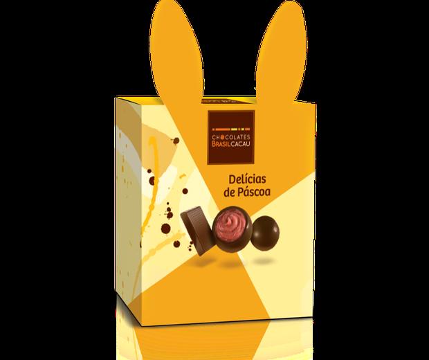 Combo Páscoa (148g) I Contém 4 minitrufas de chocolate ao leite, 1 tablete de chocolate ao leite, 1 tablete de chocolate ao leite com crocante de castanha-de-caju, 1 trufa de morango e 1 trufa de maracujá I Da Chocolates Brasil Cacau, R$14,50 (Foto: Divulgação)