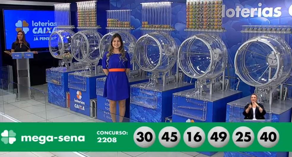 Resultado do sorteio 2.208 da Mega-Sena — Foto: Reprodução