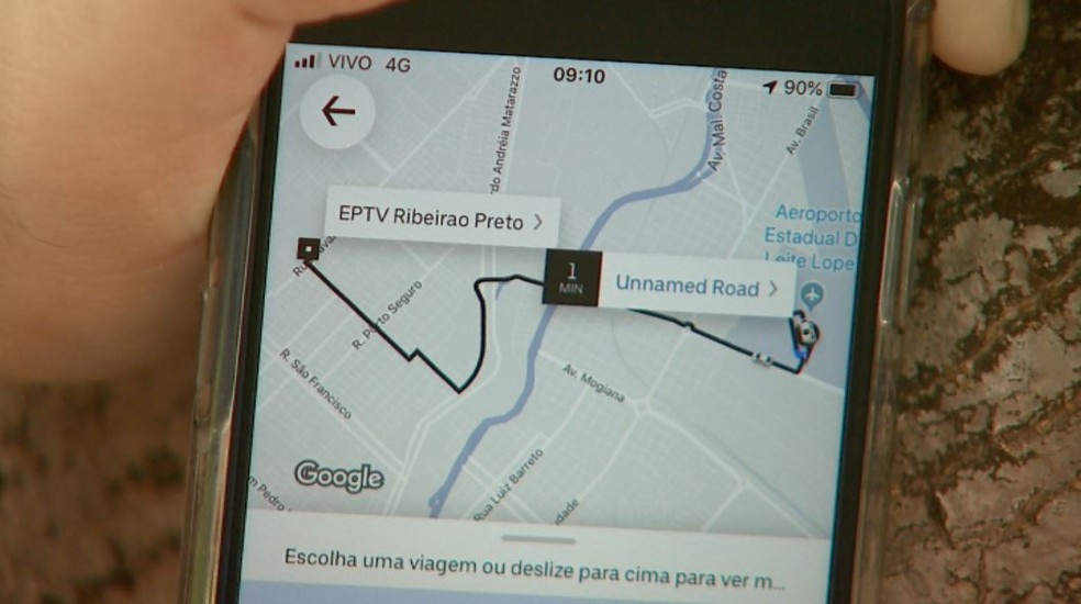 Aplicativo de transporte de passageiros — Foto: Reprodução/EPTV