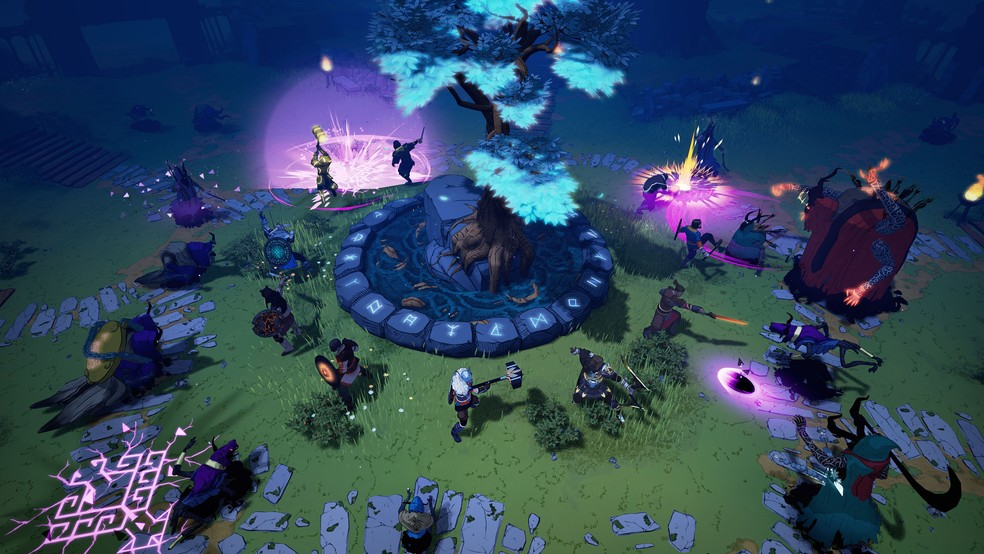 Tribes of Midgard aposta em gráfico isométrico e em RPG de sobrevivência com mapas gerados aleatoriamente — Foto: Divulgação/Norsfell Games