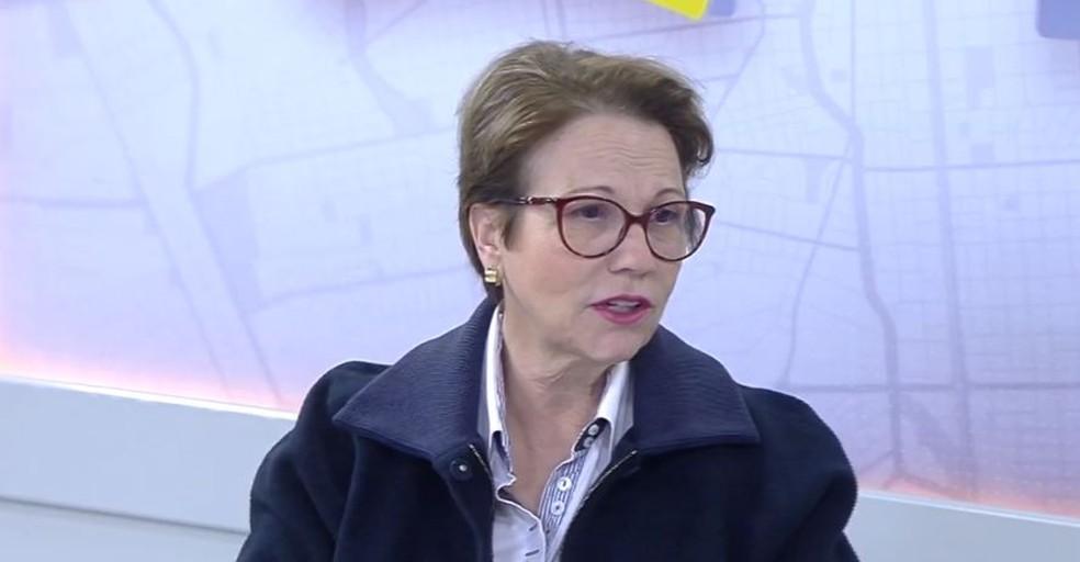 Ministra da Agricultura, Pecuária e Abastecimento, Tereza Cristina — Foto: Reprodução/TV Morena