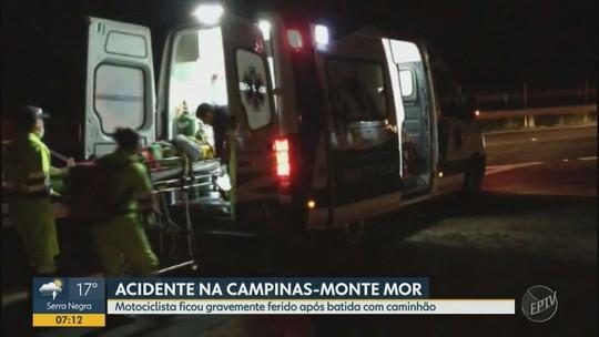 Caminhão bate em moto e deixa motociclista gravemente ferido na Rodovia Campinas-Monte Mor