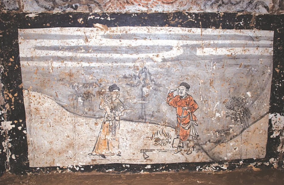 Mural retrata um conto famoso na China (Foto: Divulgação/ Chinese Cultural Relics)