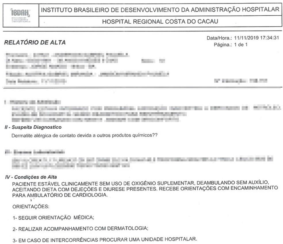 Relatório de alta do turista mineiro que teve manchas no corpo após tomar banho de mar em Ilhéus — Foto: Arquivo Pessoal