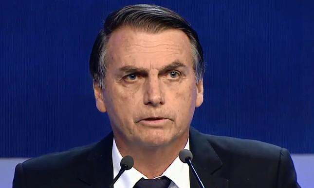 O candidato Jair Bolsonaro, no debate