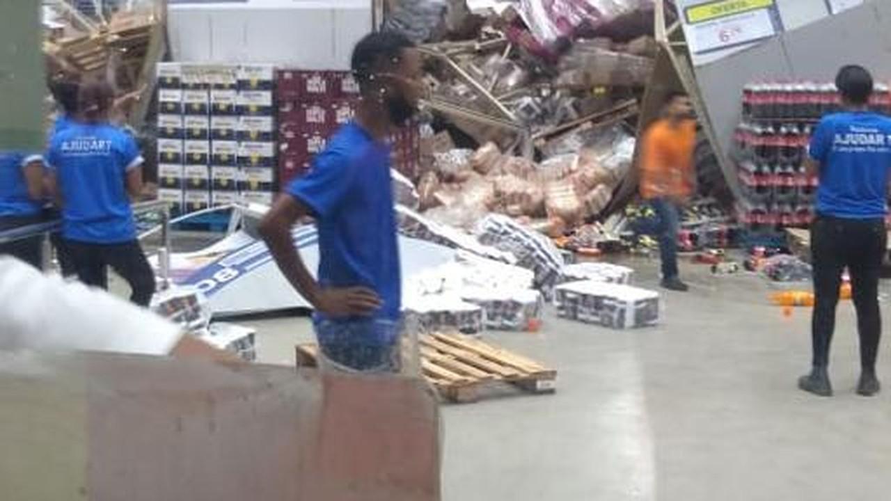 Estruturas metálicas desabam em supermercado de São Luís (MA)