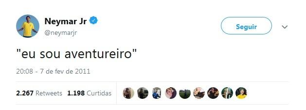Neymar resume em um tuíte o signo de sagitário (Foto: Reprodução / Twitter)