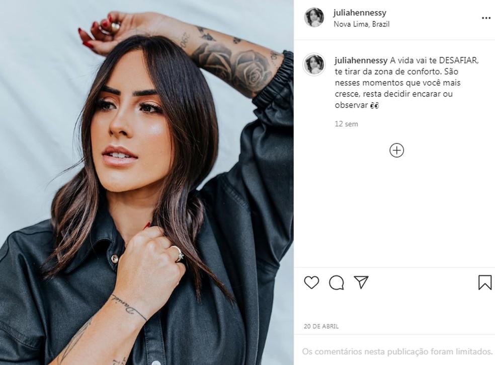 Júlia Hennessy Cayuela sofreu acidente no Paraná — Foto: Reprodução/Instagram