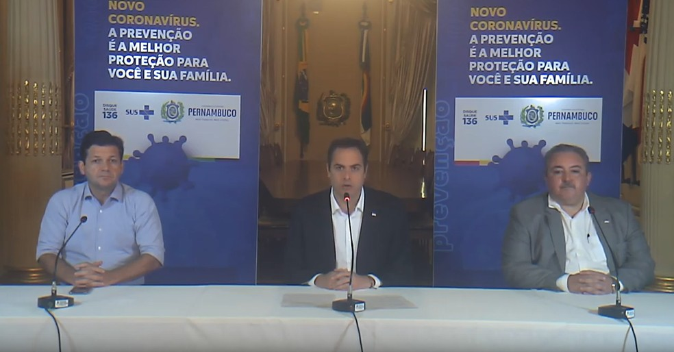 Paulo Câmara anuncia fechamento do comércio a partir de domingo (22) — Foto: Reprodução