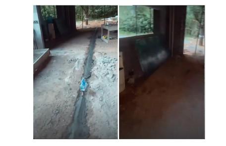 Imagens do duto que levará o gás para uma das lareiras Reprodução